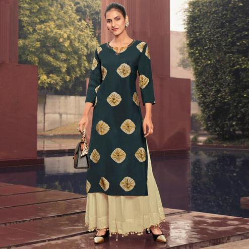 Groovy Dark Green Colored Casual Wear Printed Muslin Kurti