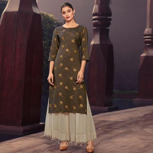 Adorning Brown Colored Casual Wear Printed Muslin Kurti