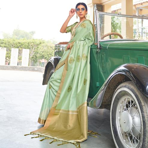 Ravishing Light Green Colored Zari Work Festive Wear Banarasi Silk Saree