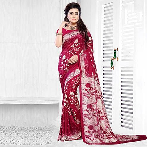 Dark Pink Casual Wear Printed Art Silk Saree