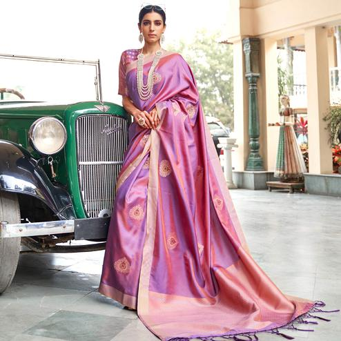 Engrossing Purple Colored Zari Work Festive Wear Banarasi Silk Saree
