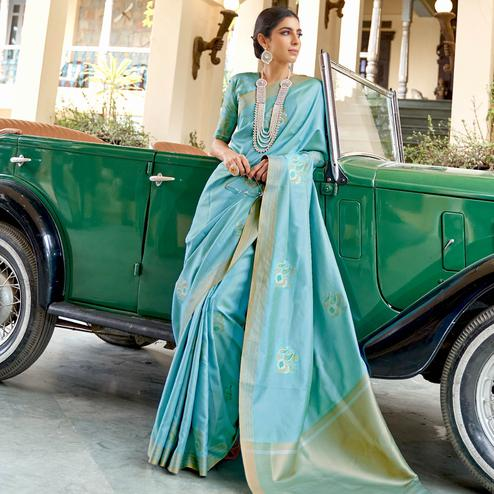 Captivating Blue Colored Zari Work Festive Wear Banarasi Silk Saree