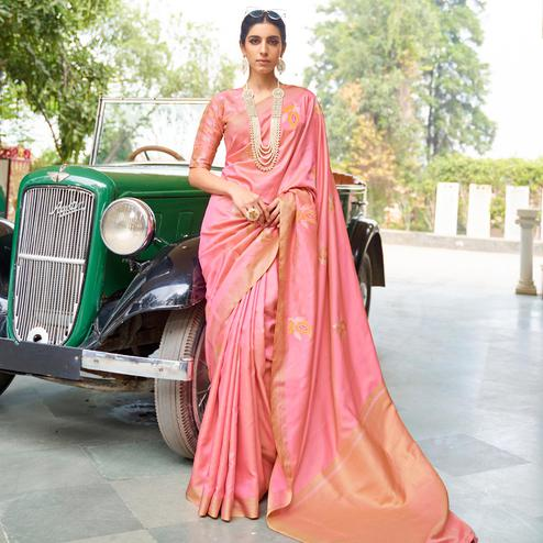 Innovative Light Peach Colored Zari Work Festive Wear Banarasi Silk Saree