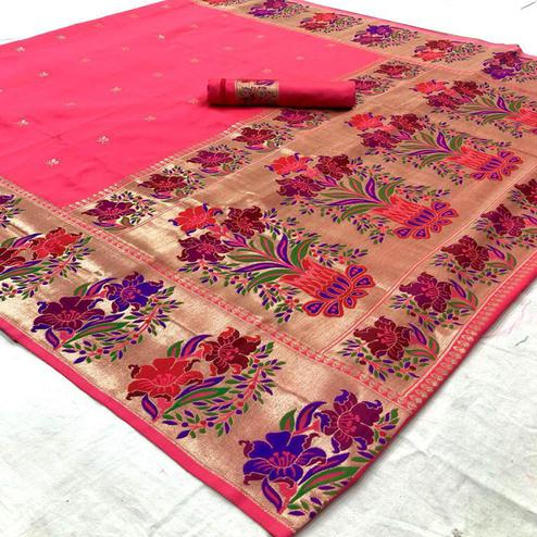 Eye-catching Peach Colored Floral and Peacock design Festive Wear Handloom Silk Saree