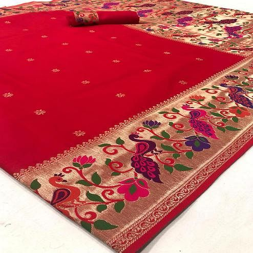 Ideal Red Colored Floral and Peacock Design Festive Wear Soft Handloom Silk Saree
