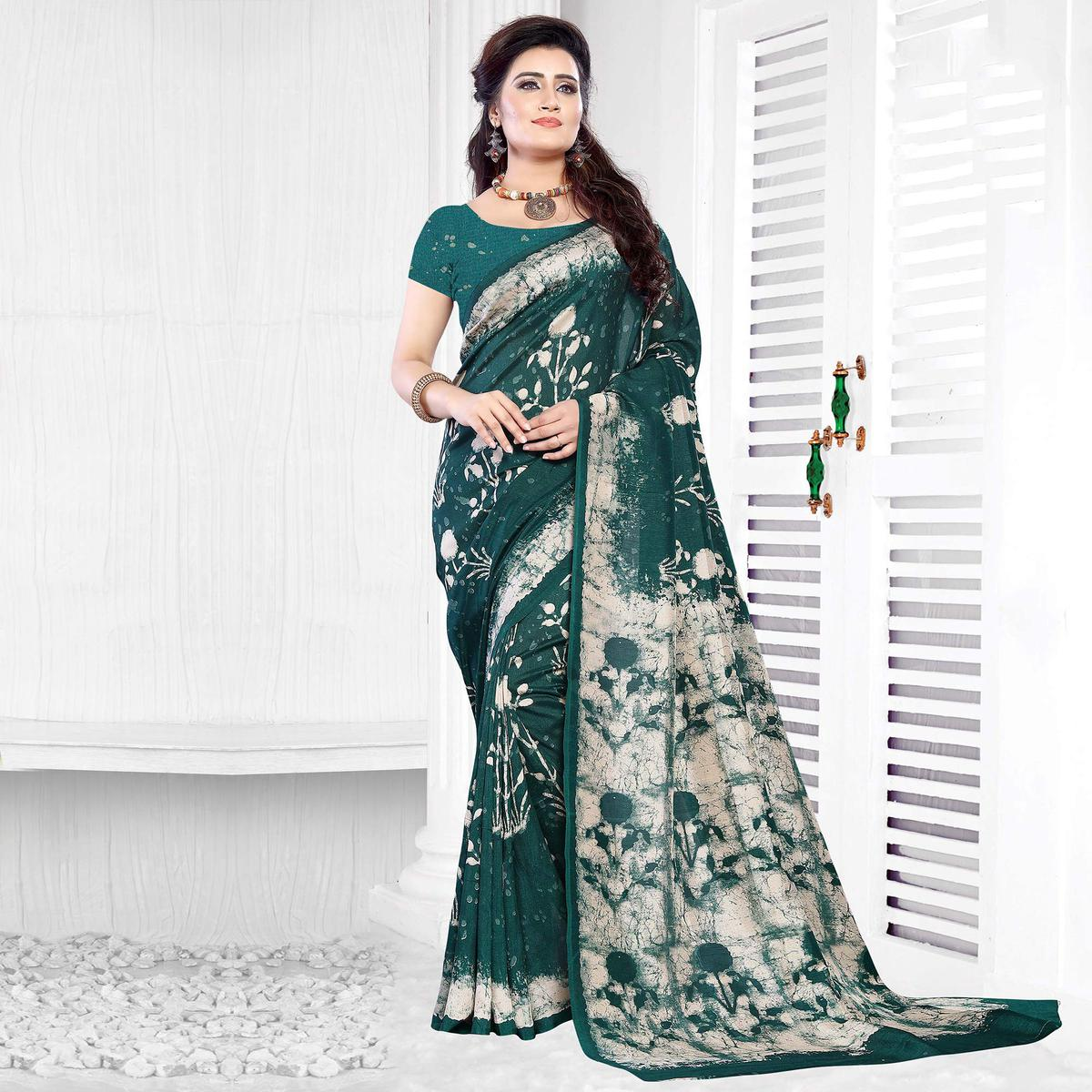 Dark Green Casual Wear Printed Art Silk Saree