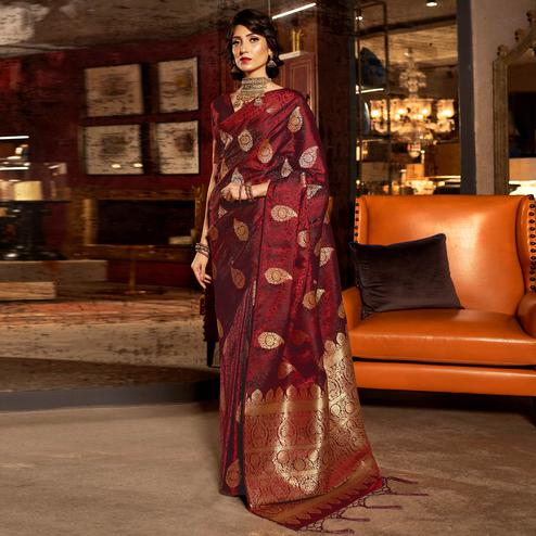 Lovely Maroon Colored Festive Wear Weaving Pure Satin Silk Saree