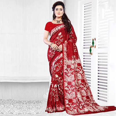 Red Casual Wear Printed Art Silk Saree