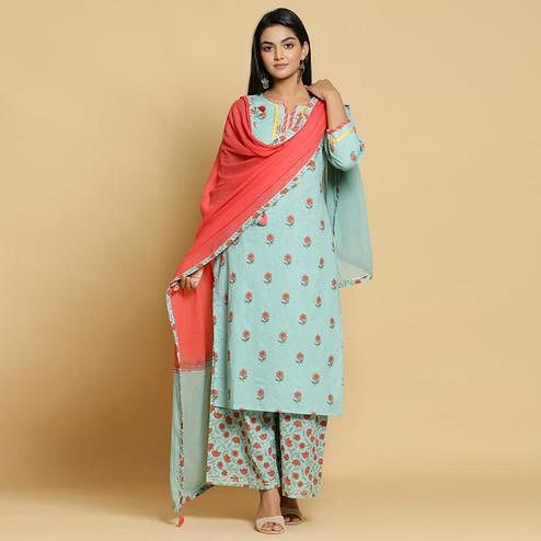 Groovy Sky Blue Colored Casual Wear Printed Cotton Kurti - Palazzo Set With Dupatta