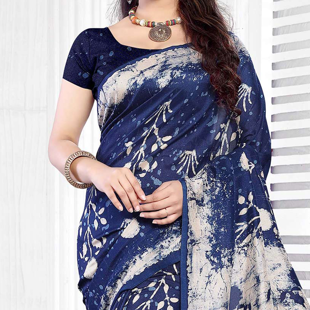 Blue Casual Wear Printed Art Silk Saree