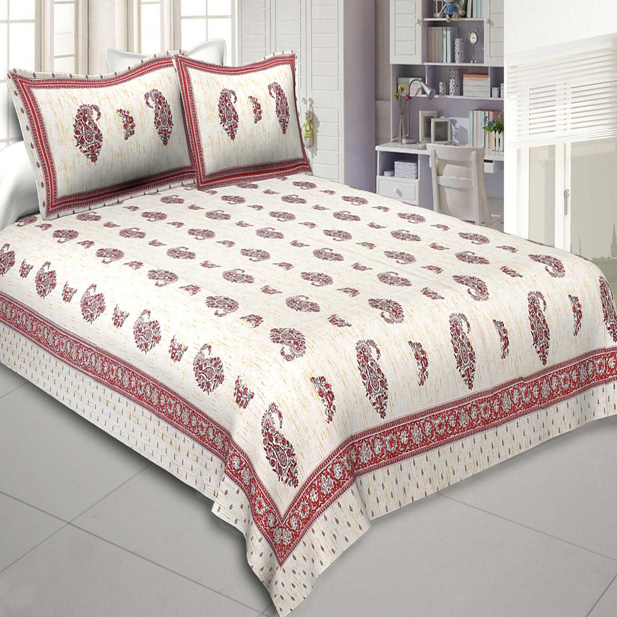 Jaipur Fabric Marble Italica Maroon Cream Pure Cotton Double Bedsheet With Two Pillow Covers