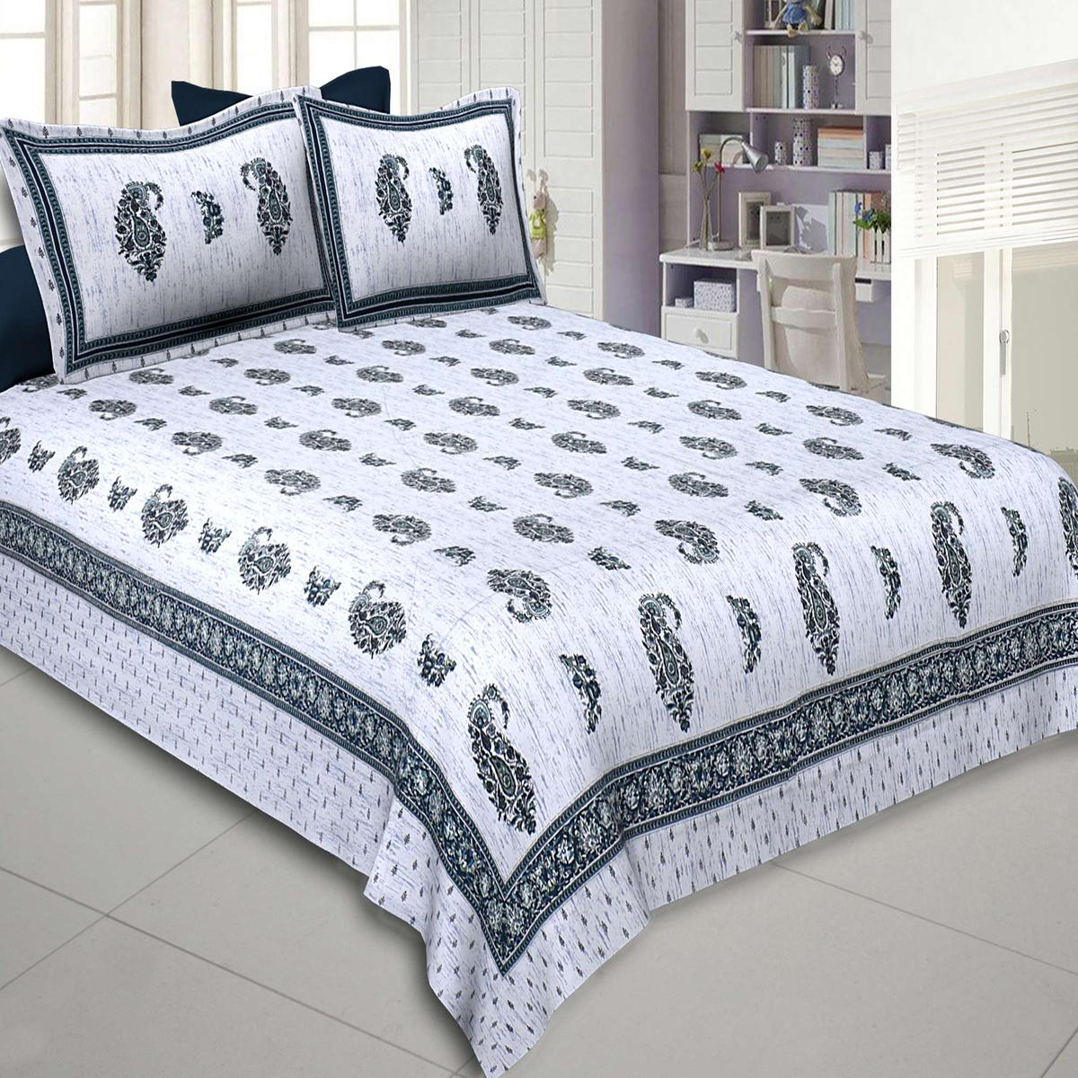Jaipur Fabric Marble Italica Green White Pure Cotton Double Bedsheet With Two Pillow Covers