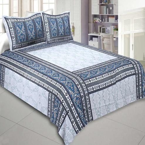 Jaipur Fabric Artistic Quadrangle Blue Pure Cotton Double Bedsheet With Two Pillow Covers