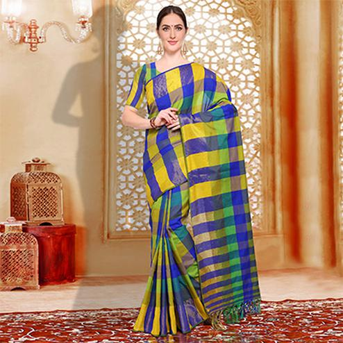 Lovely Blue - Yellow Checked Casual Wear Cotton Silk Saree