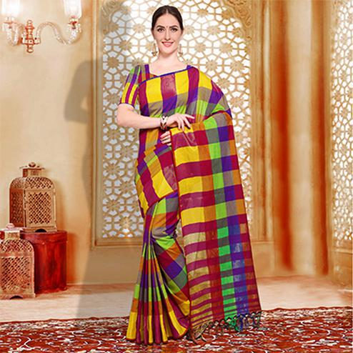 Stylish Pink - Yellow Checked Casual Wear Cotton Silk Saree