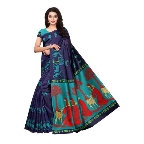 Pleasant Blue Colored Festive Wear Printed Art Silk Saree