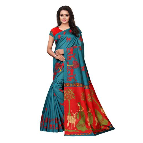 Energetic Turquoise Colored Festive Wear Printed Art Silk Saree
