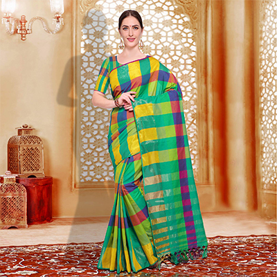 Amazing Green - Yellow Checked Casual Wear Cotton Silk Saree