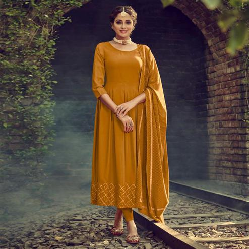 Impressive Mustard Yellow Colored Partywear Solid Cotton Kurti With Dupatta