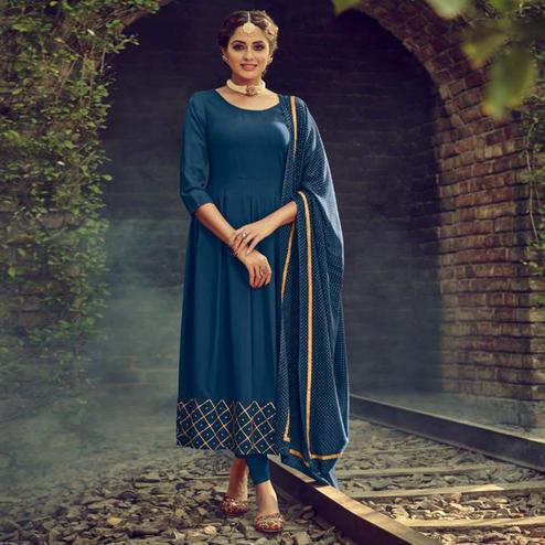 Mesmerising Teal Blue Colored Partywear Solid Cotton Kurti With Dupatta
