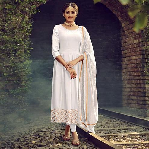 Pleasance White Colored Partywear Solid Cotton Kurti With Dupatta