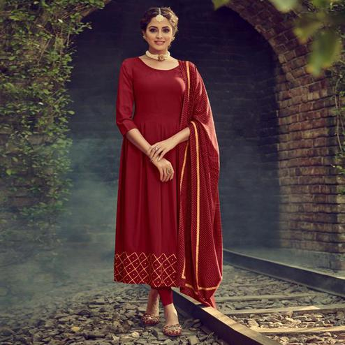 Ravishing Red Colored Partywear Solid Cotton Kurti With Dupatta