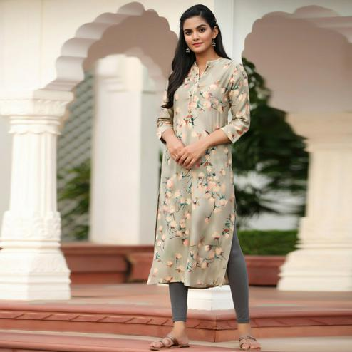 Dazzling Light Grey Colored Casual Wear Printed Muslin Kurti