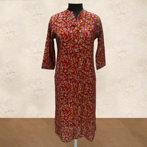 Surpassing Red Colored Casual Wear Floral Printed Cotton Kurti