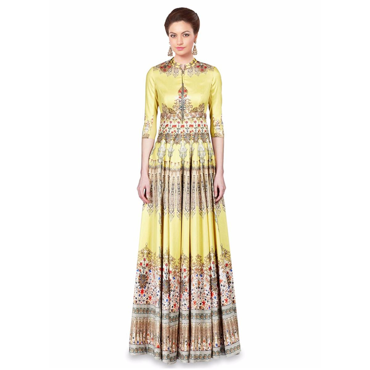 Buy Yellow Twill Silk Indo Western Gown for womens online India ...
