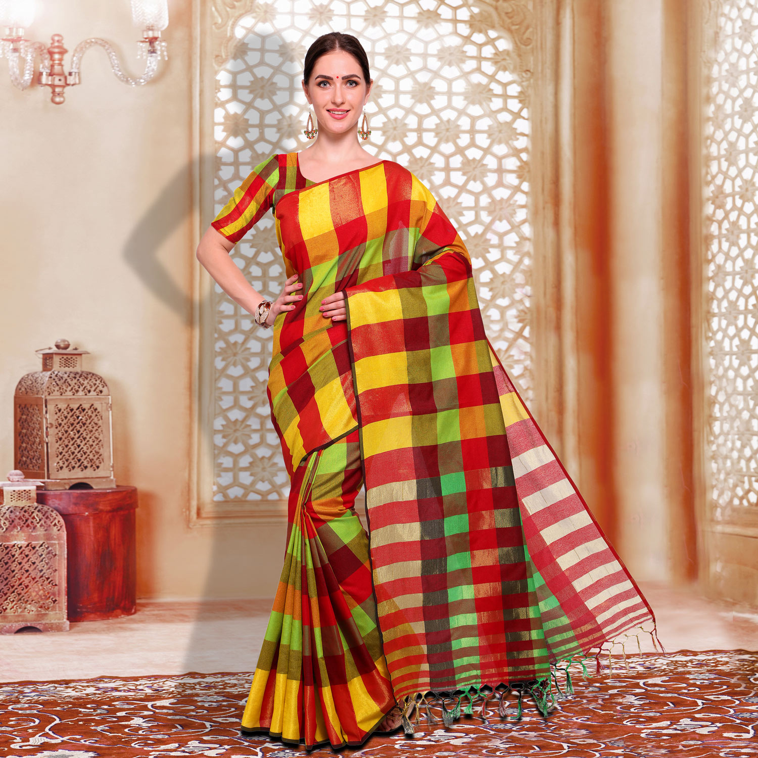 Classy Red - Yellow Checked Casual Wear Cotton Silk Saree