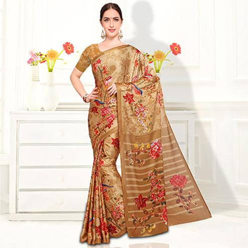 Lovely Beige Colored Casual Wear Floral Printed Crape Saree