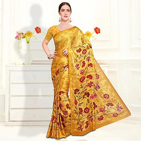 Classy Golden Colored Casual Wear Floral Printed Crape Saree