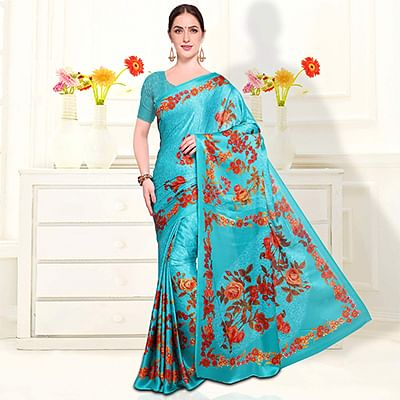 Pretty Blue Colored Casual Wear Floral Printed Crape Saree