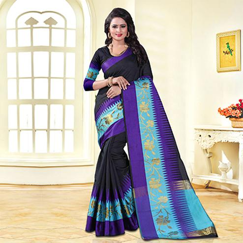 Classy Black Colored Festive Wear Cotton Silk Saree