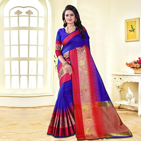 Glorious Blue Colored Festive Wear Cotton Silk Saree