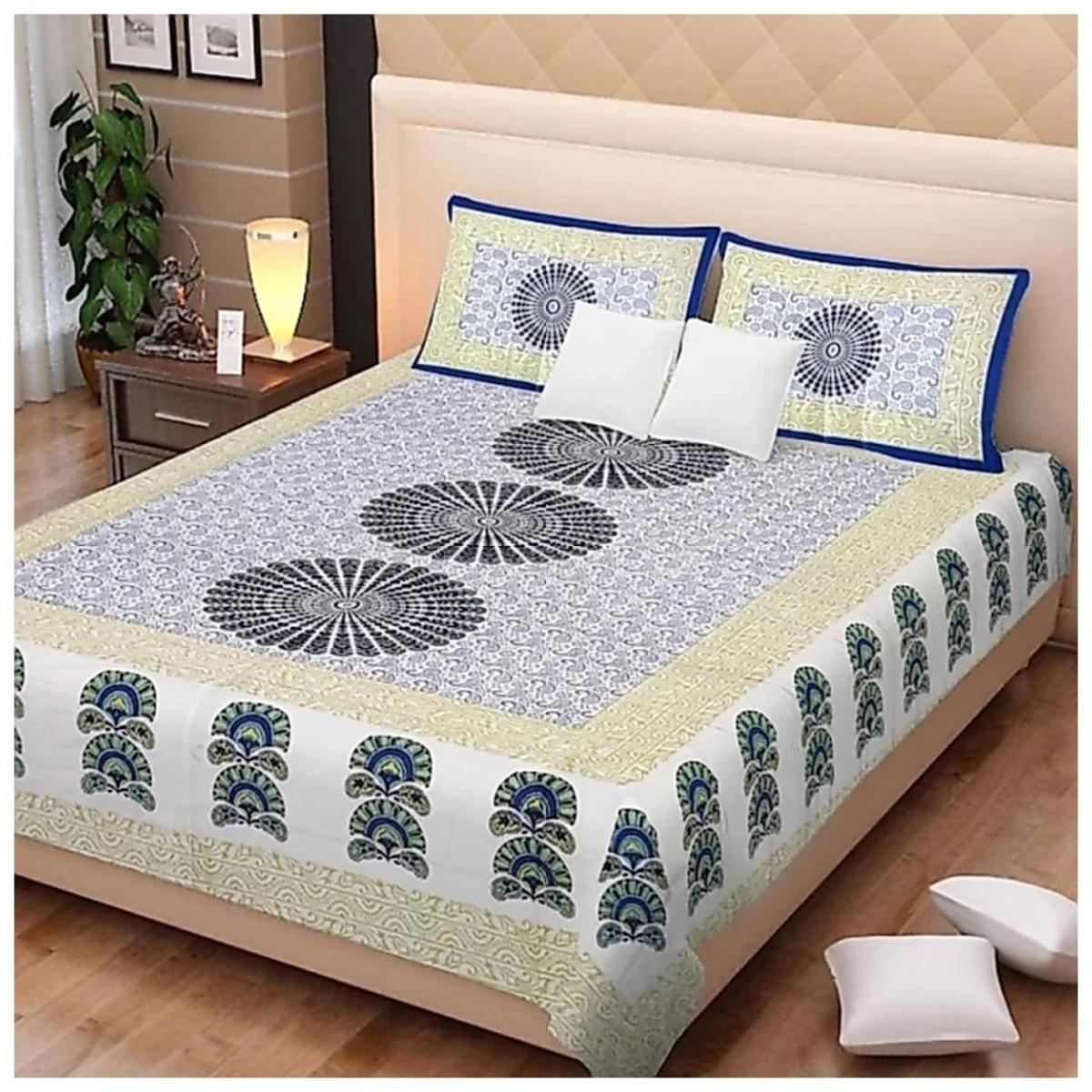 Pooja Fashion - Blue Colored Printed Double Cotton Bedsheet With 2 Pillow Cover