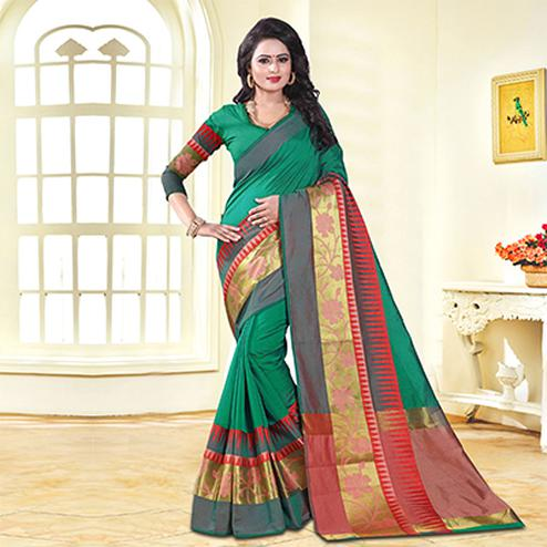 Graceful Green Colored Festive Wear Cotton Silk Saree