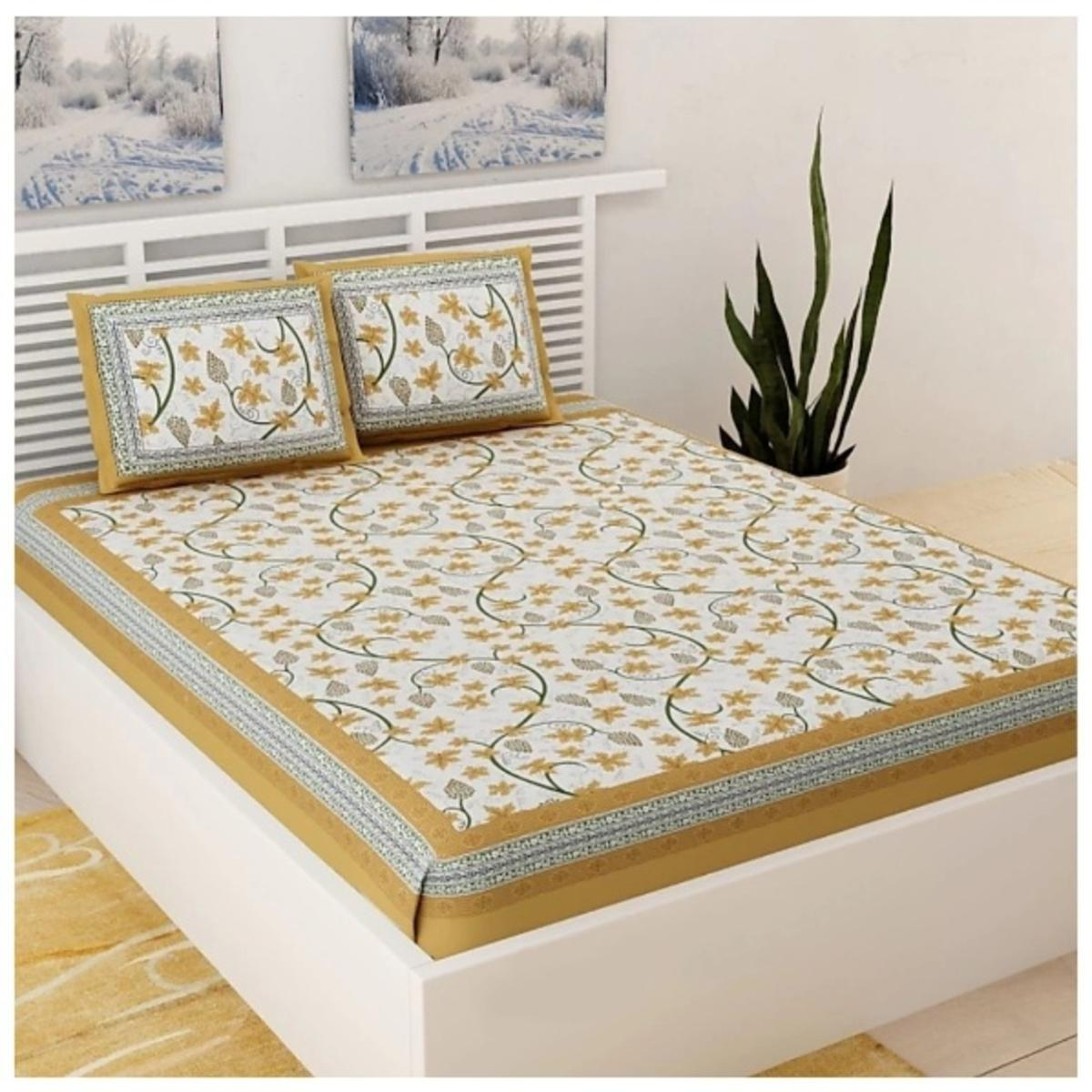 Pooja Fashion - Brown Colored Printed Double Cotton Bedsheet With 2 Pillow Cover