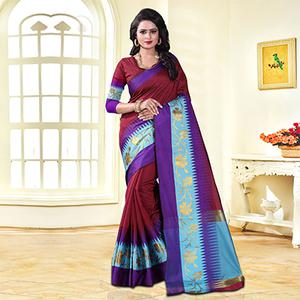 Lovely Maroon Colored Festive Wear Cotton Silk Saree
