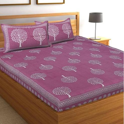Pooja Fashion - Pink Colored Printed Double Cotton Bedsheet With 2 Pillow Cover