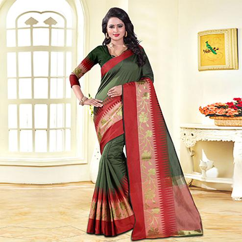 Pretty Dark Green Colored Festive Wear Cotton Silk Saree