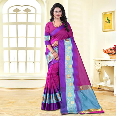 Ravishing Pink Colored Festive Wear Cotton Silk Saree