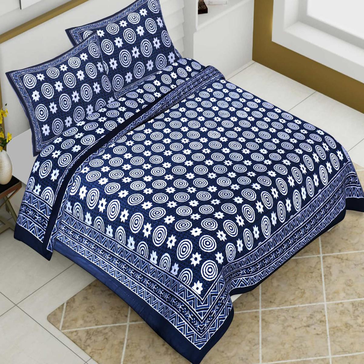Pooja Fashion - Navy Blue Colored Printed King Cotton Bedsheet With 2 Pillow Cover