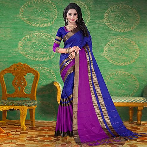 Blue Colored Festive Wear Blended Cotton Saree