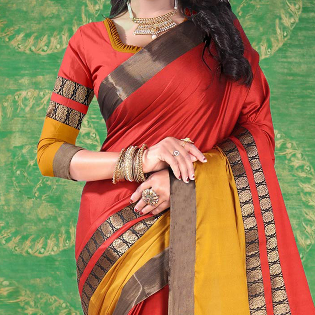 Red Colored Festive Wear Blended Cotton Saree