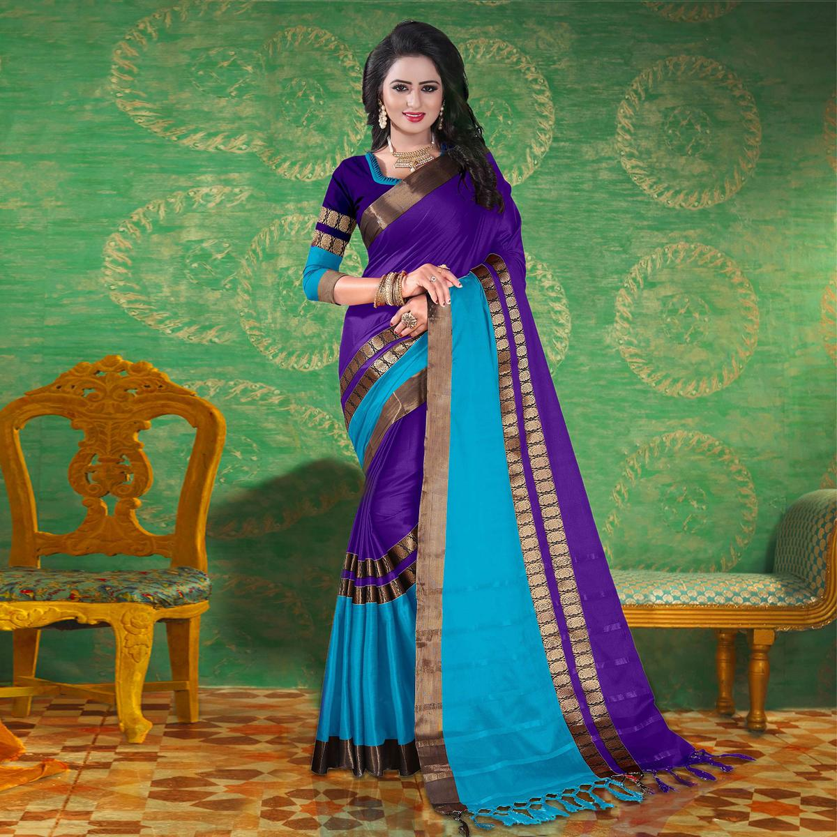 Purple Colored Festive Wear Blended Cotton Saree
