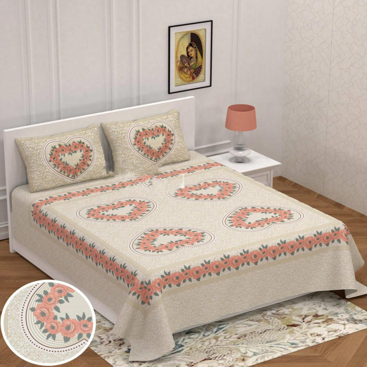 Pooja Fashion - Orange Colored Printed King Cotton Bedsheet With 2 Pillow Cover