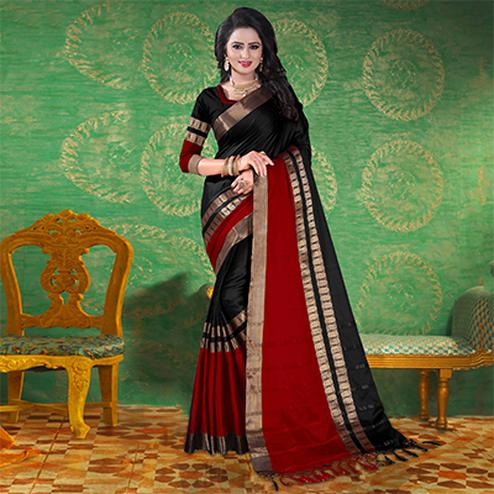 Black Colored Festive Wear Blended Cotton Saree