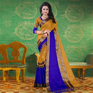 Beige Colored Festive Wear Blended Cotton Saree