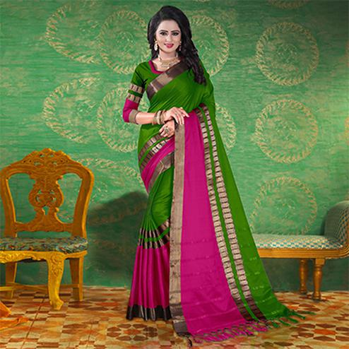 Green Colored Festive Wear Blended Cotton Saree